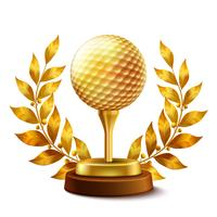 Prémio de golfe dourado vetor