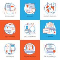 Conjunto de ícones na educação on-line de tema