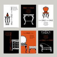 Banners de móveis de mão desenhada em estilo barroco