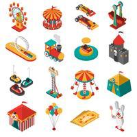 Coleção de ícones isométrica de parque de diversões
