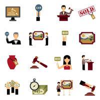 Conjunto de ícones de leilão vetor