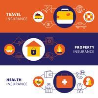 Conjunto de bandeiras plana horizontal de apólice de seguro