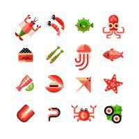 Conjunto de ícones isolados de frutos do mar