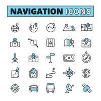 Navegação de mapa delineada conjunto de ícones
