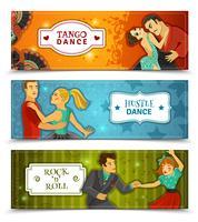 Banners horizontais de dança Vintage plana definida vetor