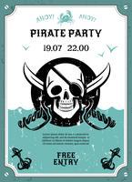 Cartaz de anúncio de festa pirata com crânio vetor