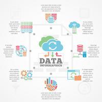 Banner de ícones plana de infográfico de análise de dados