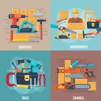 Conjunto de conceito de Design de carpintaria vetor