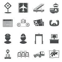 Conjunto de ícones pretos de aeroporto vetor