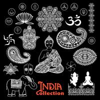 Conjunto de quadro de elementos de design de Índia vetor