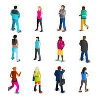 Conjunto de ícones de homens e mulheres vetor