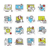 Conjunto de ícones plana de educação on-line vetor