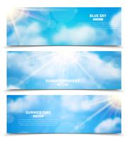Sol através do conjunto de banners de céu de nuvens