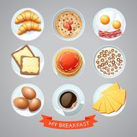 Cartaz com conjunto de café da manhã vetor