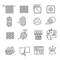 Conjunto de ícones da indústria têxtil