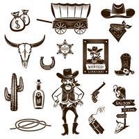 Conjunto de ícones branco preto de vaqueiro vetor