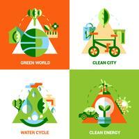 Conjunto de conceito de Design de ecologia vetor