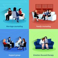 Aconselhamento de relacionamento 4 ícones planos quare vetor
