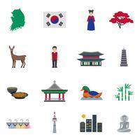 Conjunto de ícones plana de símbolos de cultura coreana vetor