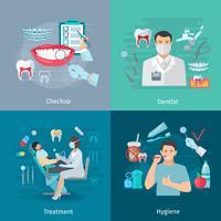 Conceito de quadrados de cuidados de dentes