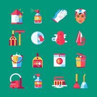 Conjunto de ícones plana de limpeza de limpeza vetor