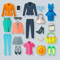 Conjunto de ícones plana de roupa de mulher de cor