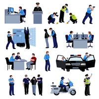 Ícones de cores planas de pessoas de polícia vetor