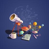 Conjunto de desenhos animados de astronomia