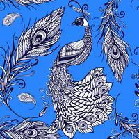 Padrão de fundo sem emenda de penas de pássaro pavão vetor