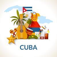 Cópia cubana do cartaz da composição dos símbolos vetor