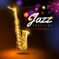 Saxofone Em Fundo Preto vetor