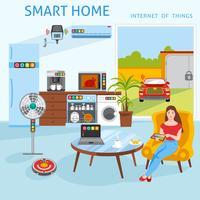 Internet do conceito de casa inteligente de coisas vetor