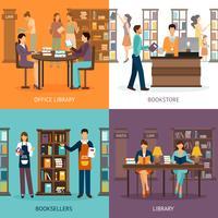 Serviço de Biblioteca 2x2 Set vetor