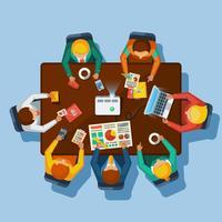 Cartaz plano de vista superior de reunião de negócios vetor