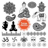 Conjunto de elementos de Design Índia mão desenhada vetor