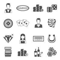 Conjunto de ícones de preto branco de cassino