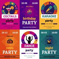 Seis cartazes de festa de cor