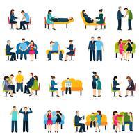 Conjunto de ícones plana de grupo de apoio de aconselhamento vetor