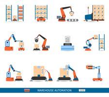 Conjunto de ícones de robôs de armazém vetor