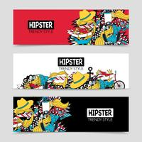 Conjunto de banners horizontais interativos de hipster 3 vetor