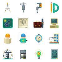 Conjunto de ícones plana de engenheiro