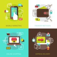 Conceito de compras on-line 4 ícones planas vetor