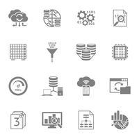 Conjunto de ícones pretos de Analytics de banco de dados