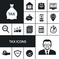Símbolos de imposto preto ícones composição Banner