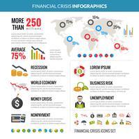 Layout de infográficos estatísticos de recessão de crise financeira