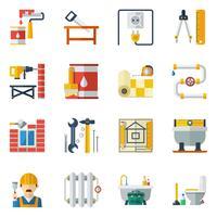 Coleção de ícones plana de reparação em casa