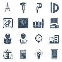 Conjunto de ícones pretos de engenheiro