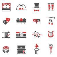 Conjunto de ícones preto vermelho de teatro