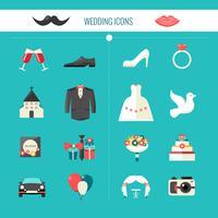 ícones de casamento decorativo de cor vetor