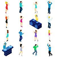 Pessoas dançando isométricas vetor